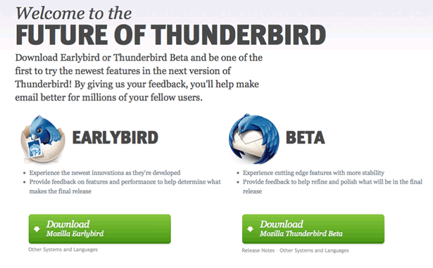screenshot of Thunderbird Channels page