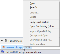 Attachment options for detached files.