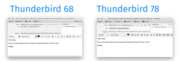 Compose Window Comparison, 68 and 78