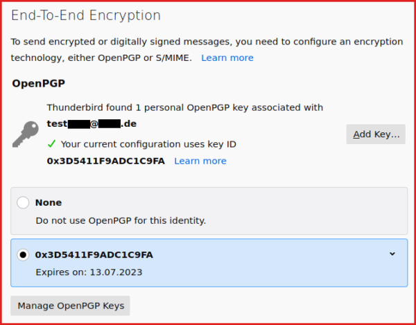New end-to-end encryption preferences tab.